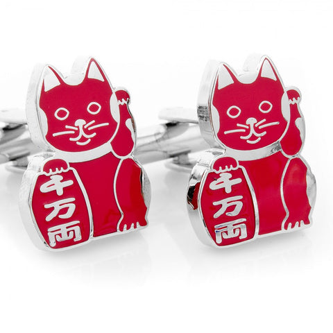 "Healthy ""Maneki Neko"" Lucky Cat Cufflinks"