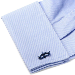Cool Cut Navy Blue Moustache Cufflinks