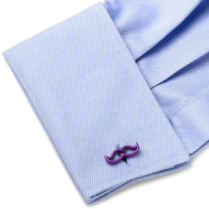 Cool Cut Purple Moustache Cufflinks