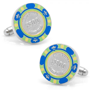 $500 Blue Poker Chip Cufflinks