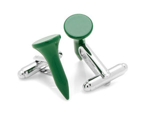 Green Golf Tee Cufflinks