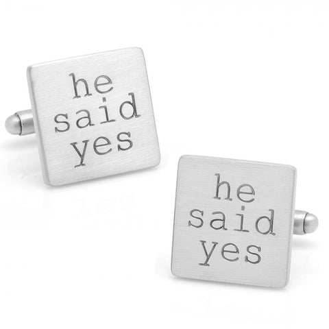 "Wedding Series ""He Said Yes!"" Cufflinks"