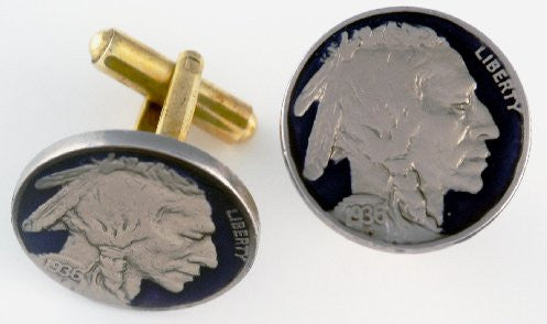 Old Buffalo Nickel Head Coin Cufflinks