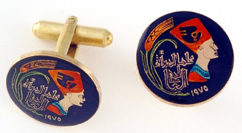 Egypt Nefertiti Coin Cufflinks