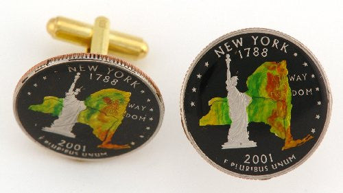 New York Quarter Coin Cufflinks