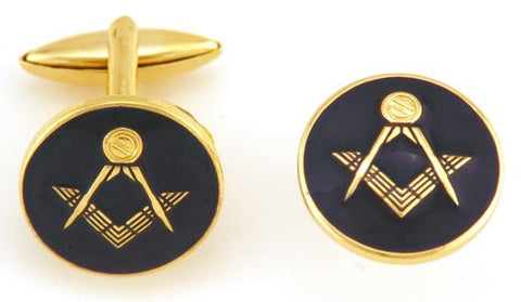 Black Round Masonic Coin Cufflinks