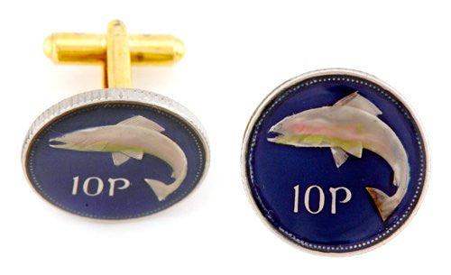 Ireland 10p Fish Coin Cufflinks