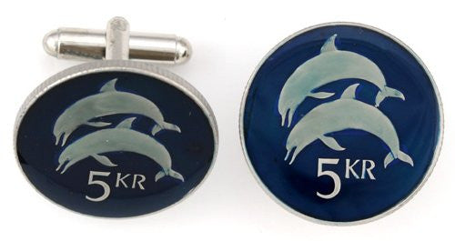 Iceland 2 Dolphins Coin Cufflinks