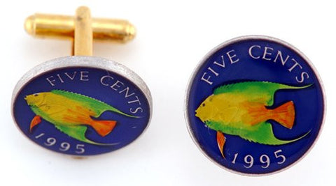 Bermuda 5 Cent Angel Fish Coin Cufflinks