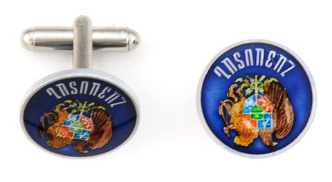 Hand Painted Blue Buffalo Nickel Cufflinks