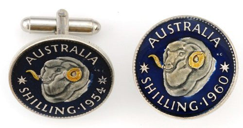 Australia Rams Head Coin Cufflinks