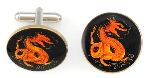 China Red Dragon Coin Cufflinks