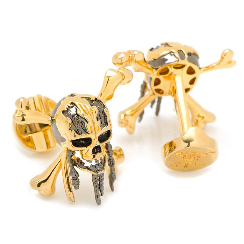 3D Black and Gold Skull and Crossbones Cufflinks