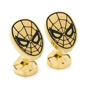 Stainless Steel Black and Gold Spider-Man Cufflinks