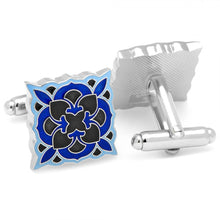 Black and Blue Deco Bloom Cufflinks