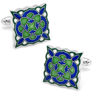 Green and Blue Deco Bloom Cufflinks