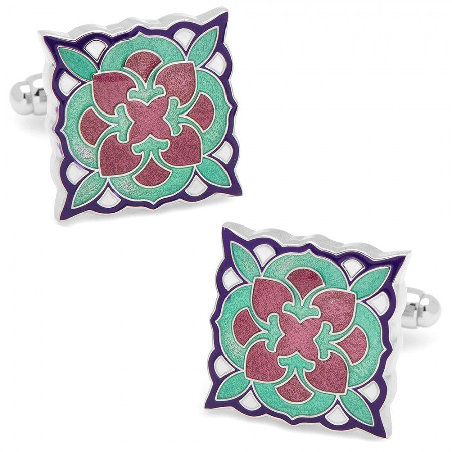 Teal and Purple Deco Bloom Cufflinks