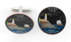 Maine State Coin Cufflinks