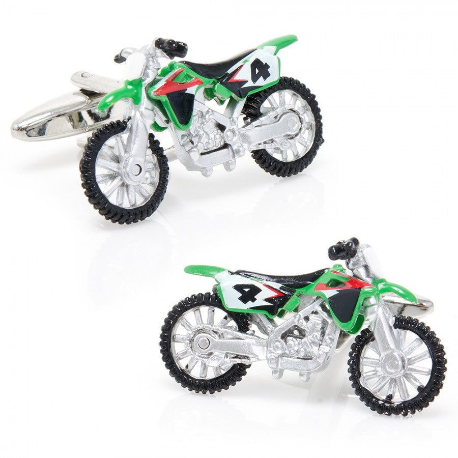 Enamel Dirt Bike Cufflinks
