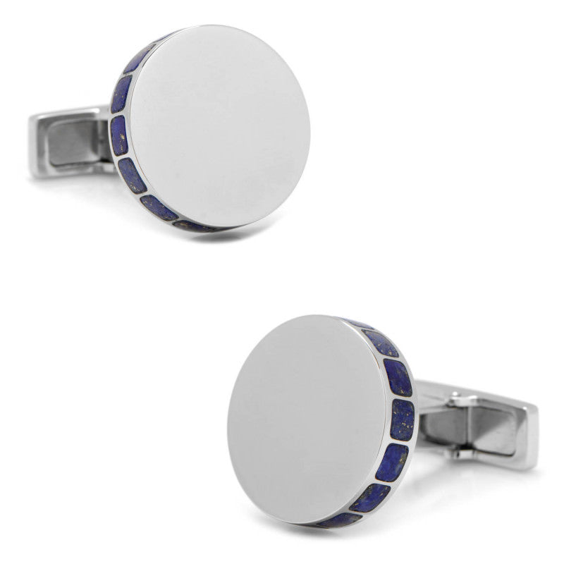 Stainless Steel Lapis Mosaic Engravable Cufflinks