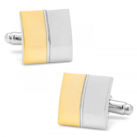 Two Tone Split Square Cufflinks