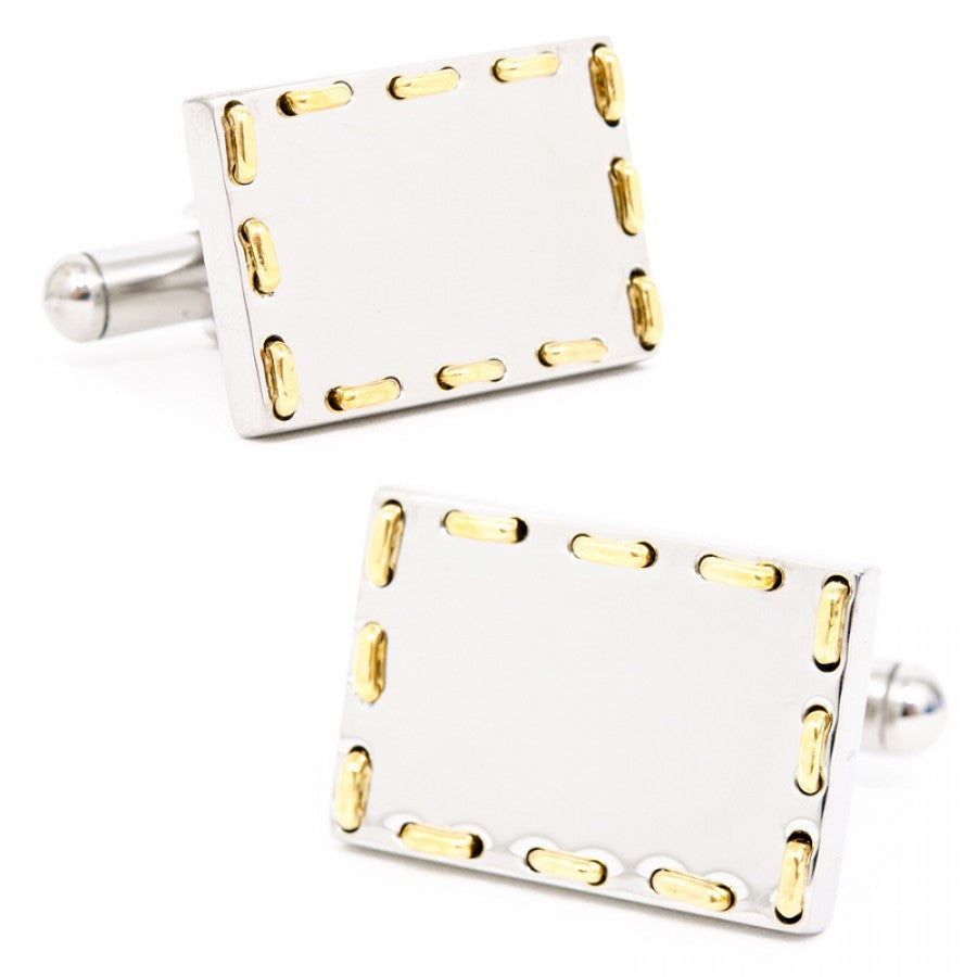 Two-Tone Threaded Engravable Cufflinks