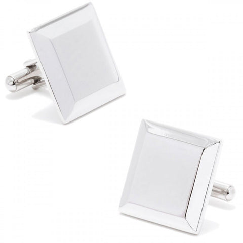 Stainless Steel Beveled Edge Engravable Cufflinks
