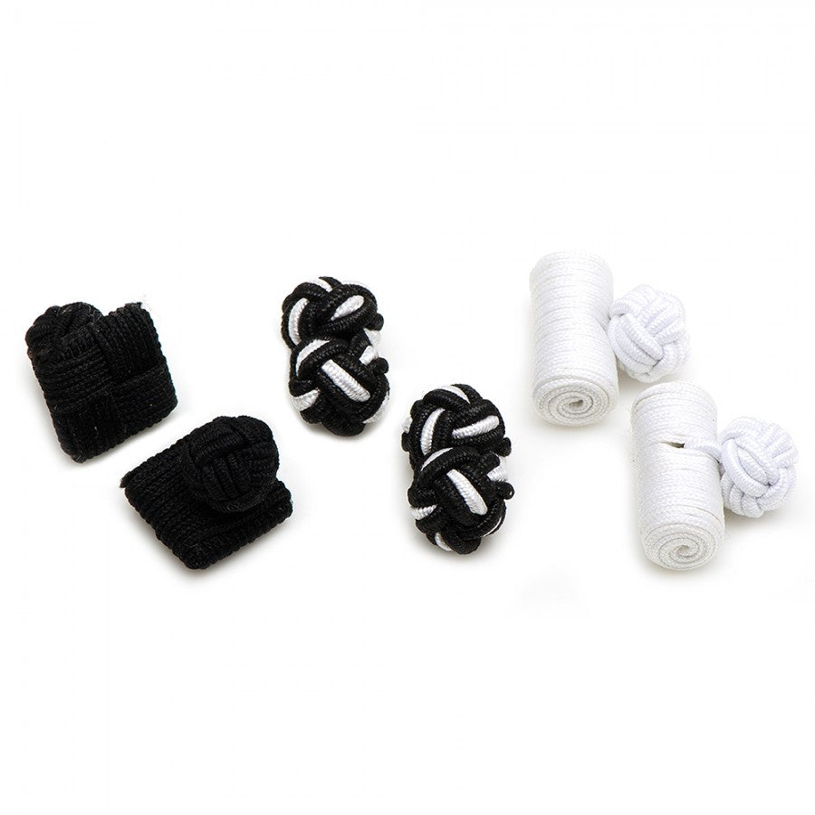 Black and White Silk Knot Combo Cufflinks