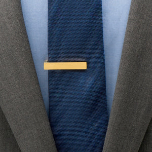 Gold Stainless Steel Short Brushed Tie Clip