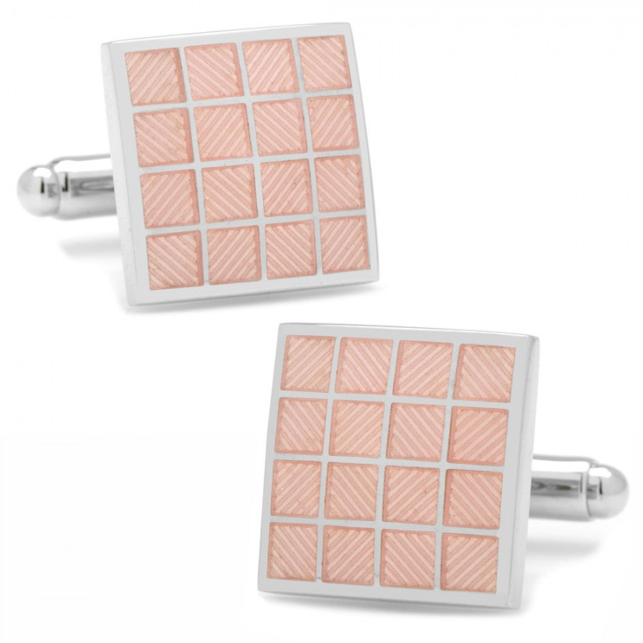 Pink Checker Square Cufflinks