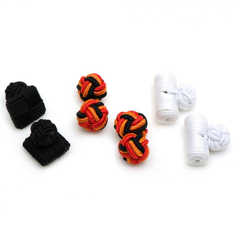 Candy Corn Silk Knot Combo Cufflinks