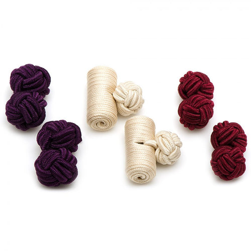 Cranberry Silk Knot Combo Cufflinks
