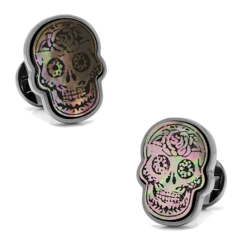 Day of the Dead Skull White Mother of Pearl Cufflinks
