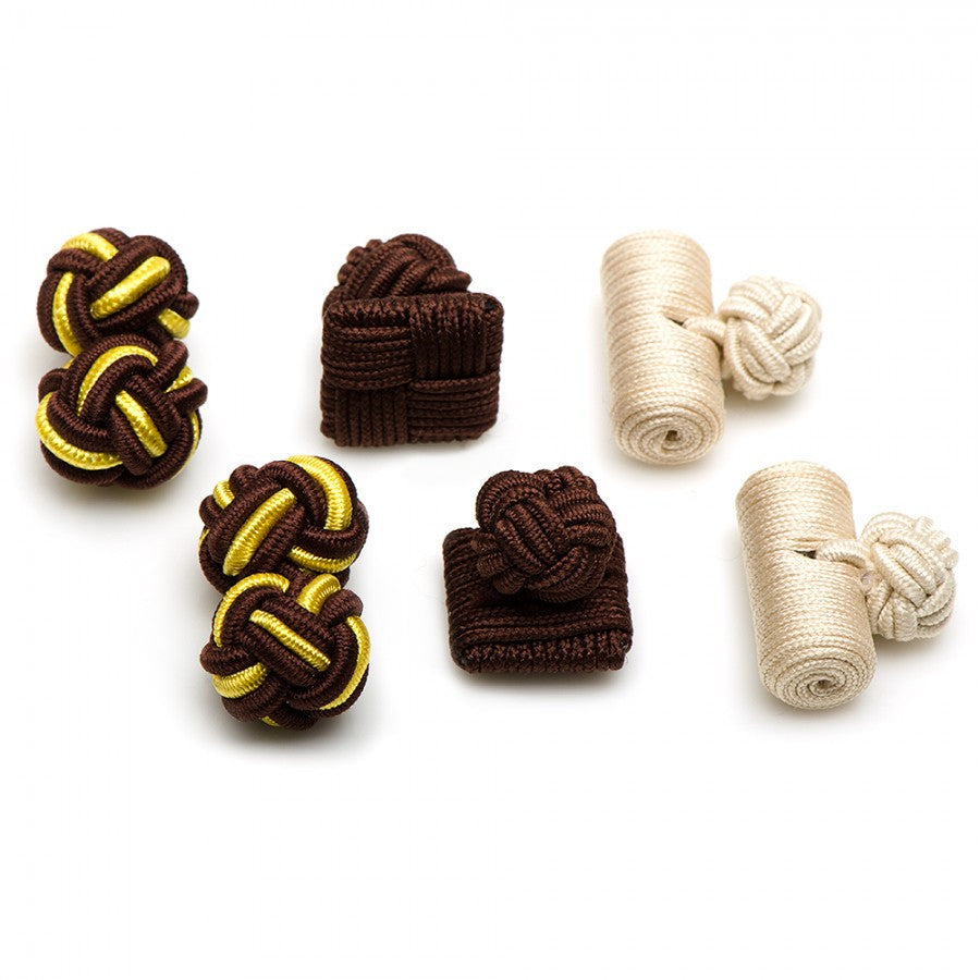 Down to Earth Silk Knot Combo Cufflinks