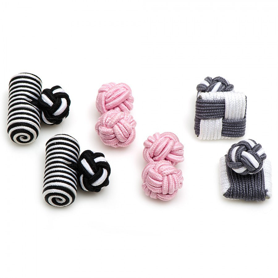 Flamingo Silk Knot Combo Cufflinks