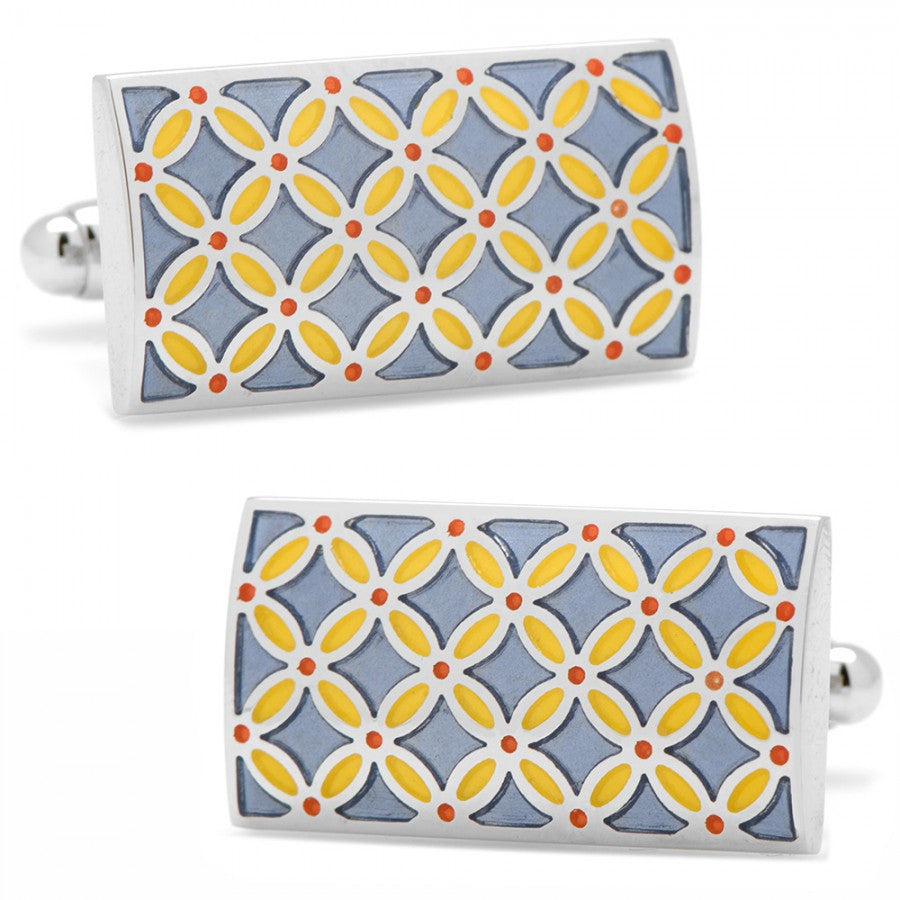 Smokey Blue and Orange Floral Rectangle Cufflinks