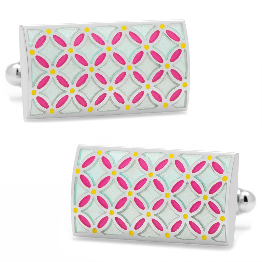 Light Blue and Pink Floral Rectangle Cufflinks