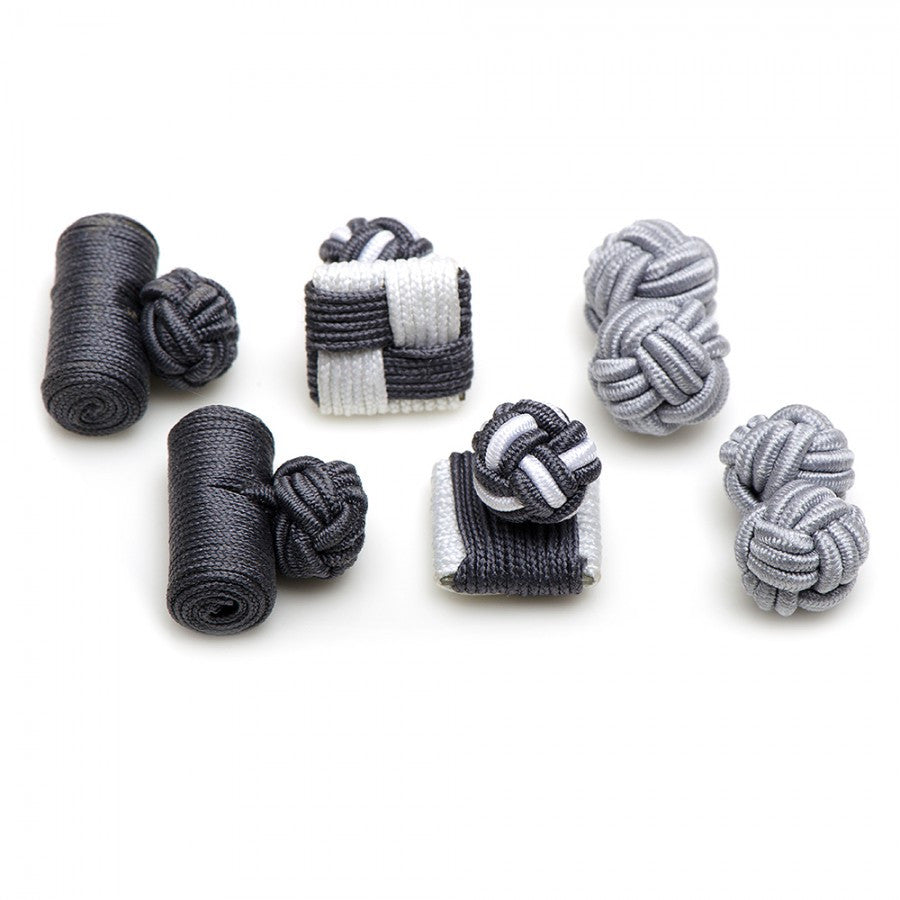 Shades of Grey Silk Knot Combo Cufflinks