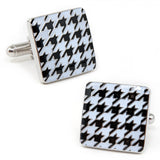 White and Black Enamel Houndstooth Cufflinks