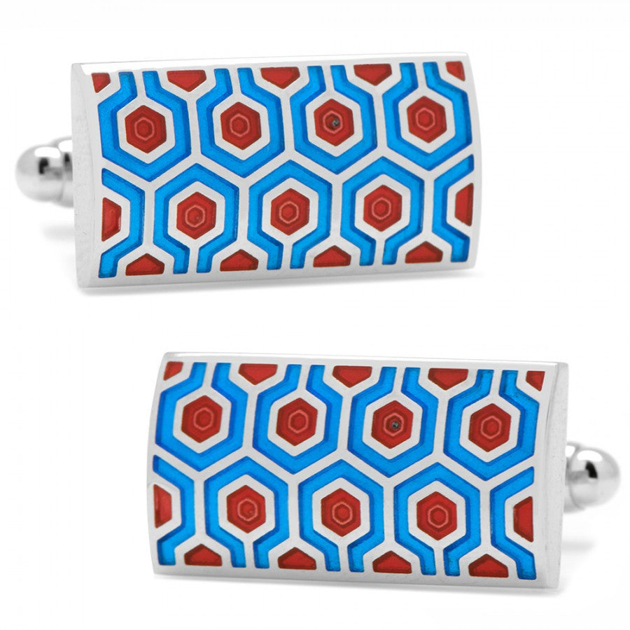 Blue and Red Honeycomb Cufflink