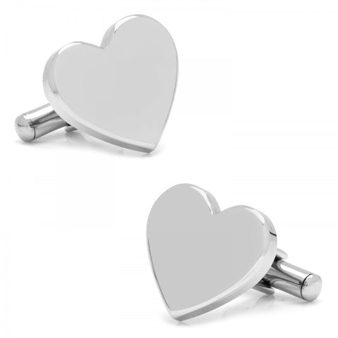 Stainless Steel Heart Engravable Cufflinks