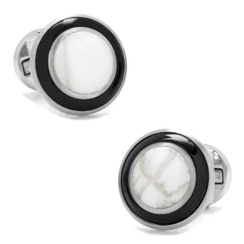 Jade with Onyx Ring Stainless Steel Cufflinks