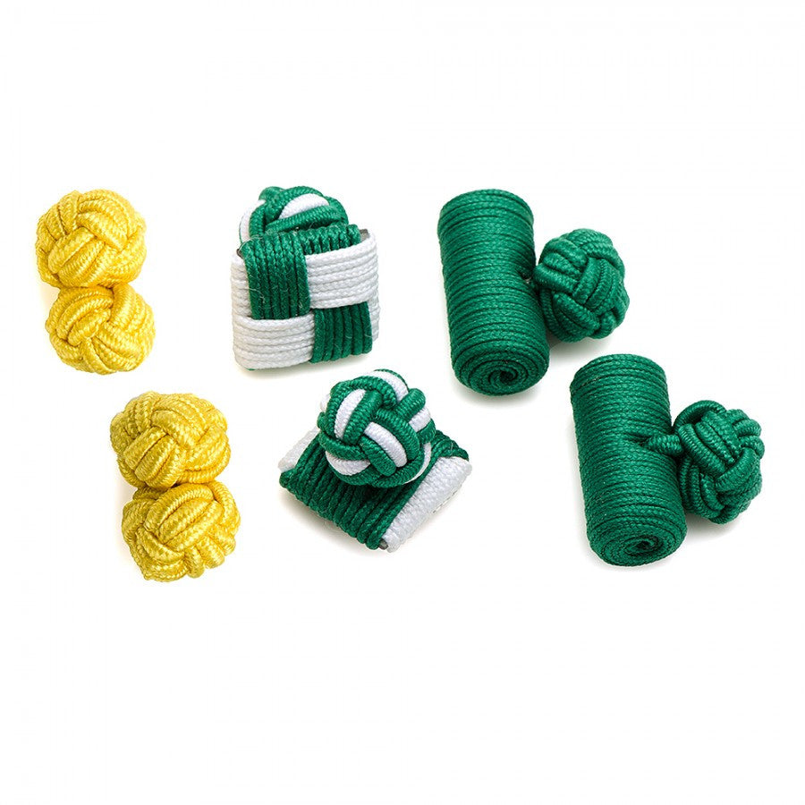 Fighting Green Leprechaun Silk Knot Cufflinks