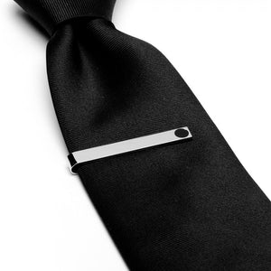 Silver and Onyx Tie Bar