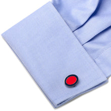 Red and Navy Oval Outline Cufflinks