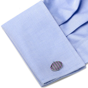 Purple and Green Oval Repp Stripe Cufflinks