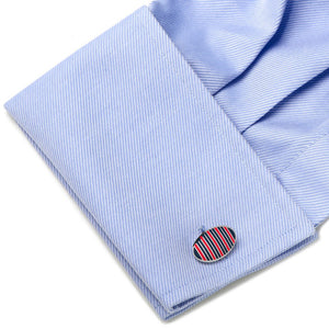 Red and Navy Oval Repp Stripe Cufflinks