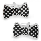 Black and White Polka Dot Bow Tie Cufflinks