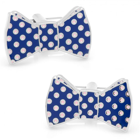 Navy and Pink Polka Dot Bow Tie Cufflinks