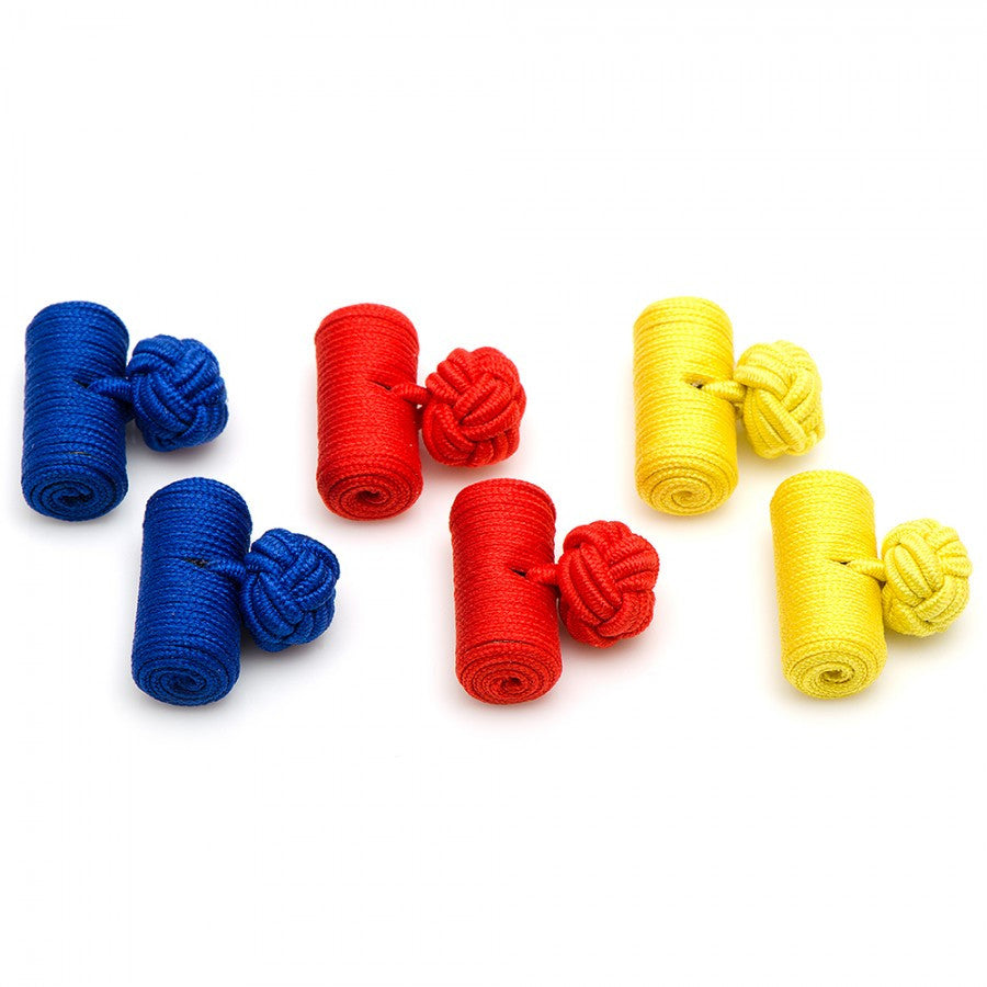 Primary Colors Silk Barrel Knot Cufflinks